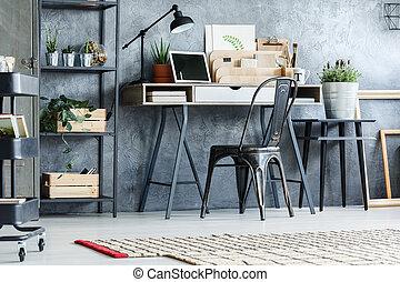 retro, muebles, en, oficina, habitación