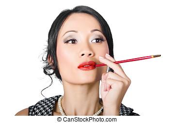 retro, mujer, cigarro que fuma, en, clásico, estilo