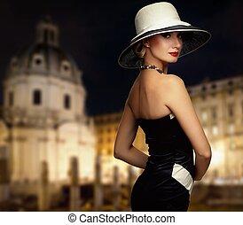 retro, mujer, contra, noche, city.