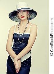 retro, mujer, en, sombrero
