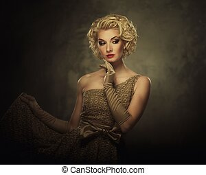 retro, mujer en vestido
