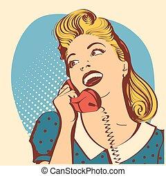 retro, mujer joven, con, pelo rubio, hablar, en, phone.vector, arte pop, color, ilustración