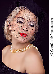 retro, mujer, portrait., joyas, y, beauty., moda, foto