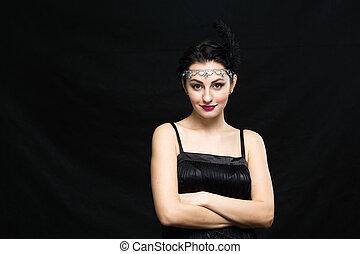 retro, mujer, portrait., vendimia, estilo, niña