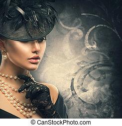 retro, mujer, portrait., vendimia, estilo, niña, llevando, pasado de moda, sombrero