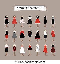 retro, mujer, vestidos