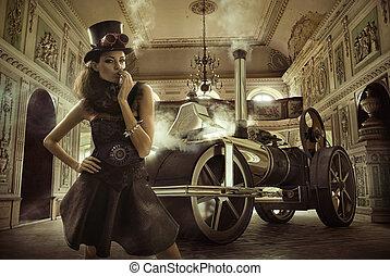 retro, mulher, com, a, antigas, máquina, em, a, fundo