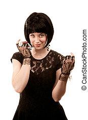 retro, mulher, com, cabelo preto