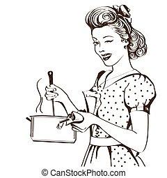 retro, mulher jovem, em, retro, roupas, cozinhar, sopa, em,...