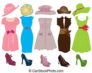 retro, mulher, roupas