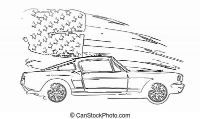 Retro muscle car laser animation - Retro muscle car...