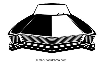 Retro muscle car vector illustration. Vintage poster of reto car. Old mobile isolated on white