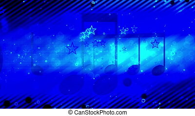 Retro music and stars in blues looping animated CG background