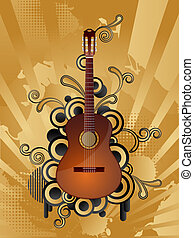 Retro music background - Abstract vector retro background...