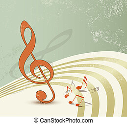 Retro music background - Grunge design with music notes and ...