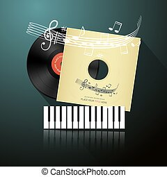 Retro Music Background with LP Vinyl Record in Paper Cover with Notes on Staff and Piano Keyboard Vector Illustration