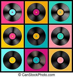Retro Music Background with Vinyl Records - Vector Lp Discs