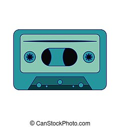 retro music cassette device isolated blue lines