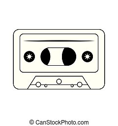 retro music cassette device isolated in black and white