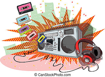 Retro Music Composition with boom-box, headphones and tapes. Illustration is in eps10 vector mode!