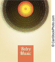 Retro Music Halftone Poster. Vector illustration.