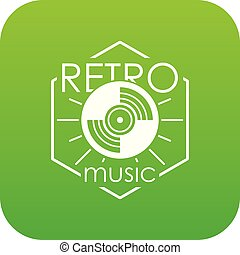 Retro music icon green vector