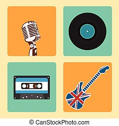 Retro Music Icons Set vector - Set of Old Style Music Icons