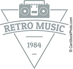 Retro music logo, simple gray style
