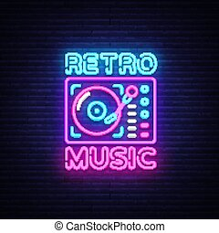 Retro Music neon sign vector. Retro Music Design template neon sign, Retro Style 80-90s, celebration light banner, gramophone neon signboard, nightly bright advertising, light inscription. Vector