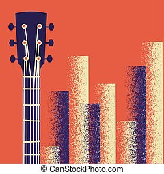 Retro Music poster background with guitar instrument