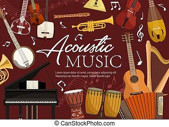 Acoustic music, retro musical instruments. Vector harp and piano, drums and trumpet, balalaika and banjo guitar. Violin and flute pipe, koto and biwa, harmonika, folk music equipment and notes