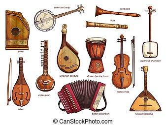 Retro musical instruments set realistic design - Musical...