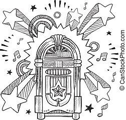 retro, musikbox, skizze