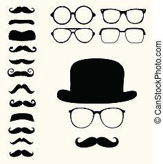 retro, mustaches, hoedje, bril