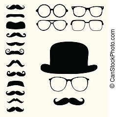 retro, mustaches, kapelusz, okulary