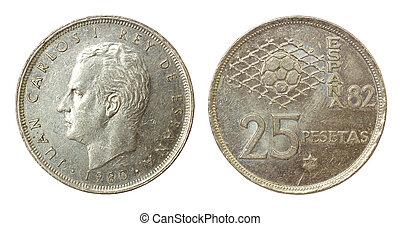 retro, mynt, av, spanien