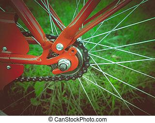 retro, néz, bicikli, részletez