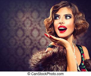 retro, nő, portrait., meglepődött, lady., szüret, címzett,...