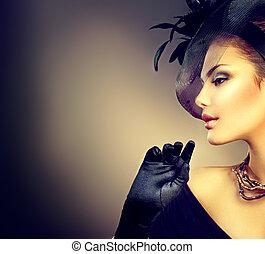 retro, nő, portrait., szüret, mód, leány, fárasztó, kalap, és, pár kesztyű