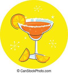 retro, naranja, margarita, bebida