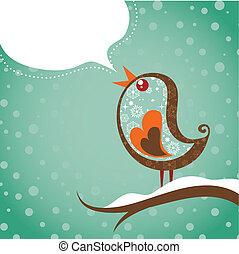 retro, natal, fundo, com, pássaro