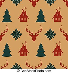 retro, natal, seamless, pattern.
