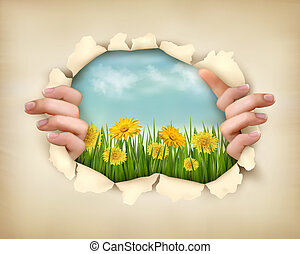 Retro nature background with grass and flowers and ripped ...