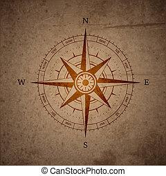 retro, navegação, compasso