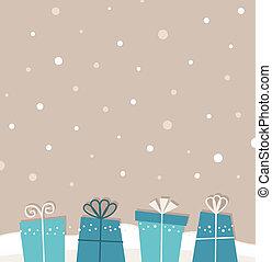retro, navidad, nevar, plano de fondo, con, regalos