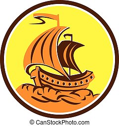 retro, navio, círculo, velejando, galeão