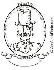retro, negro, illustratio, retrato, hombre, vector, gráfico, cima, hat.