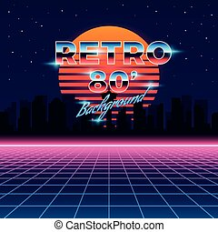 Retro neon abstract Sci-Fi vector background in 80s style. ...