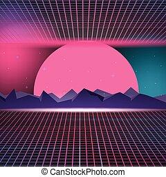 Retro Neon Background Design illustration Vector