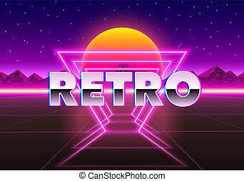 Retro neon city background. Neon style 80s.